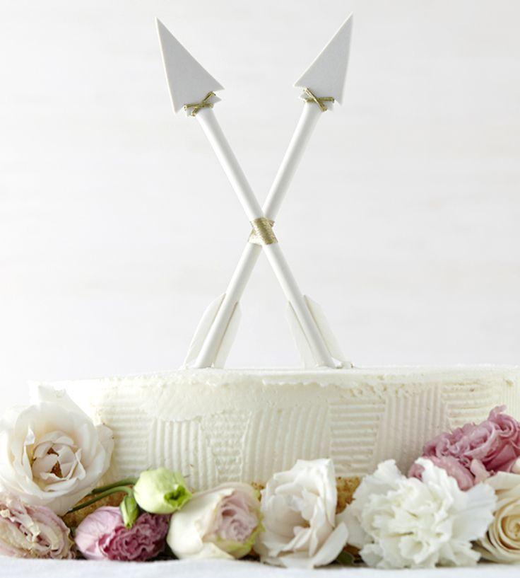 Crossed Arrows Porcelain Cake Topper for an elegant party