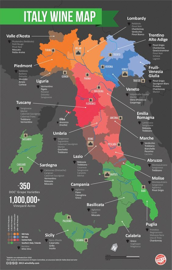 Italian Wine Regions Map: Want to visit an Italian winery someday, this is a map of wines grown in Italy.: