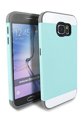 Samsung Galaxy S6 Case, Kaleidio [Colour Series] Multi Tone Dual Layer Hybrid Case Protective Cover for Samsung Galaxy S6 S 6 G920 (AT&T / T-Mobile / Verizon / Sprint / U.S. Cellular) [Package Includes a Overbrawn Prying Tool] - Retail Packaging [Turquoise Blue/Grey]