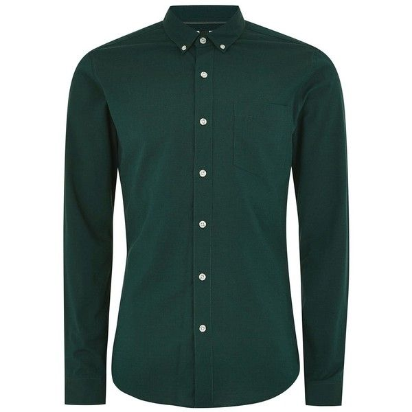 TOPMAN Forest Green Muscle Fit Oxford Shirt ($30) ❤ liked on Polyvore featuring men's fashion, men's clothing, men's shirts, men's casual shirts, green, mens long sleeve oxford shirts, oxford mens shirts, forest green mens dress shirt, mens long sleeve collared shirts and mens cotton oxford shirts