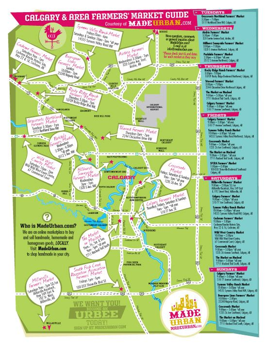 Calgary & Area Farmers' Market Map - Love that markets are also listed by days as well as shown on the map.