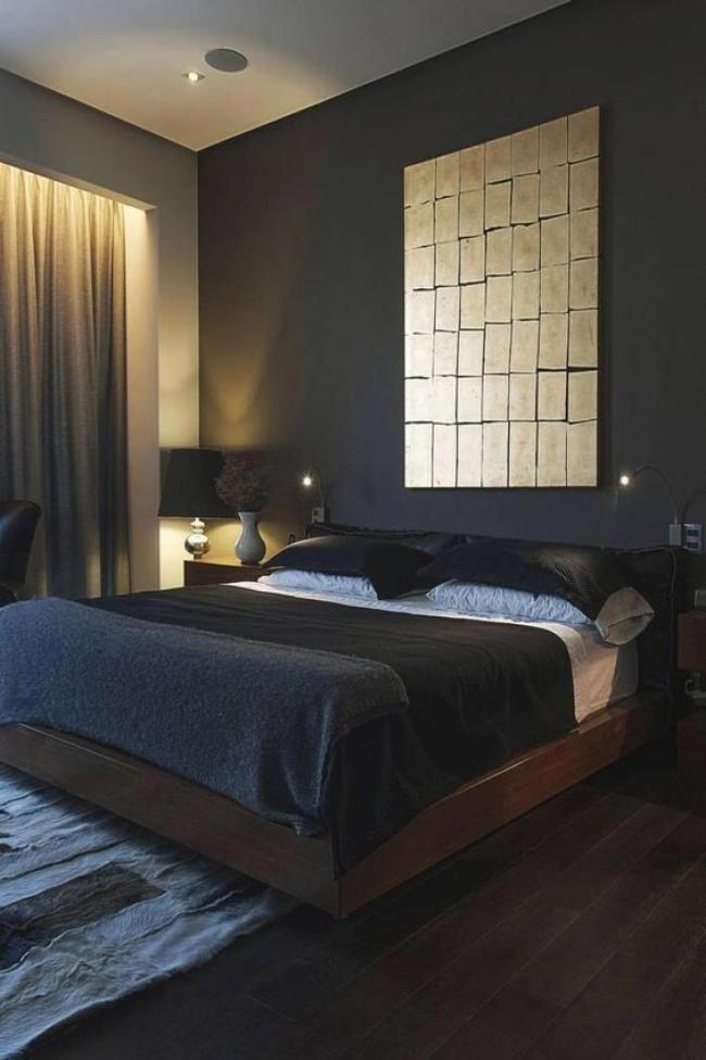 Cool Masculine Bedroom For Mens Black Colors Minimalist Decor