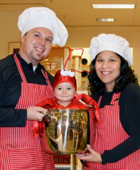 The 15 Best Family Halloween Costumes - Chefs with baby boiled lobster??? (maybe change to pot of spaghetti??)