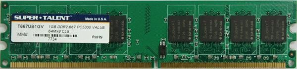 Super Talent DDR2-667 1GB-64x8 Memory