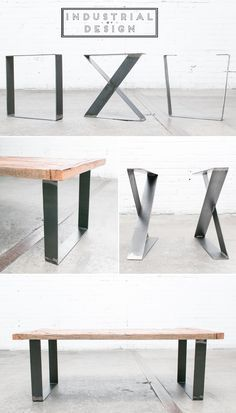 """16"""" Square, X-Style, & Trapezoid DIY Modern Frame Legs (Raw Steel) ▫ Set of 2 Industrial Strength Table Legs ▫ DIY Bench Legs, Coffee Table Legs, Etc."""