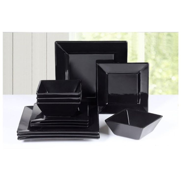 Soho 12 Piece Black Square Dinner Set – Next Day Delivery Soho 12 Piece Black Square Dinner Set from WorldStores: Everything For The Home