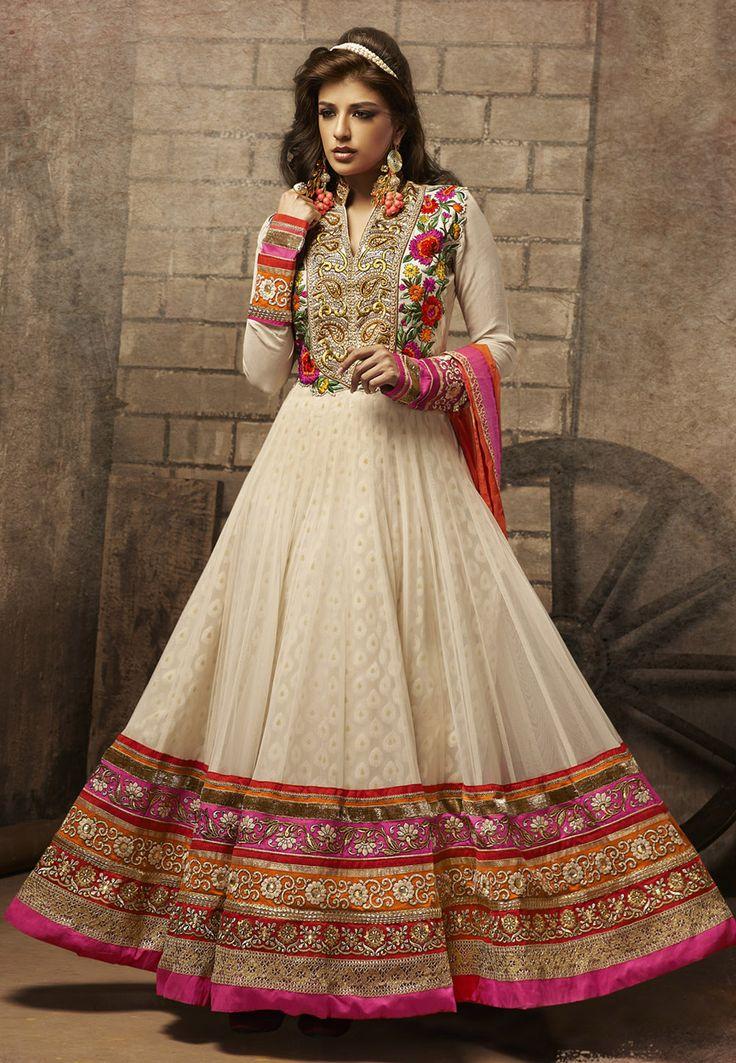 Cream Net Abaya Style Churidar Kameez Online Shopping: KMR93