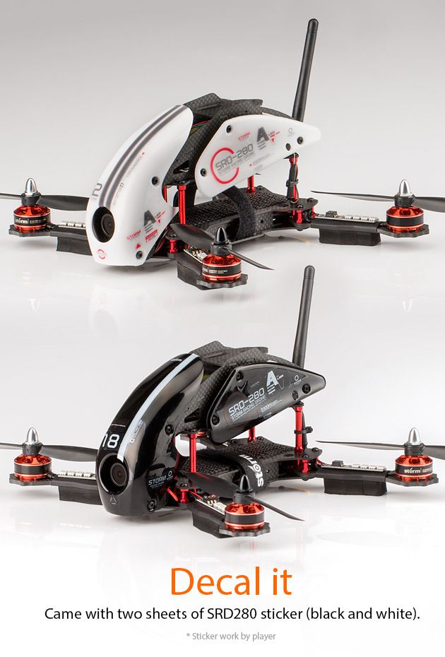 STORM Racing Drone (RTF / SRD280) http://www.helipal.com/storm-racing-drone-rtf-srd280.html Came with 2 sheets sticker for the white and black drone.