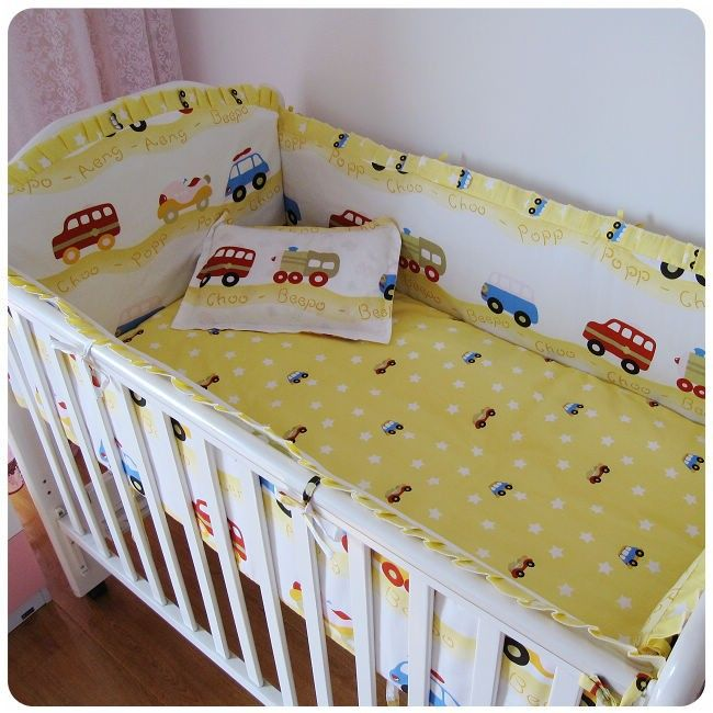 6pcs car crib bedding piece set 100cotton crib set baby bumper