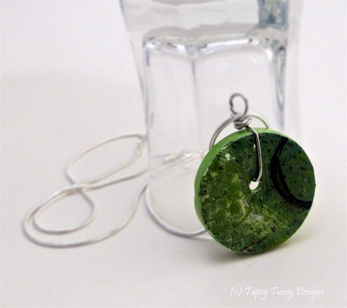 Grassy green hue original art button pendant with silver plated snake chain.