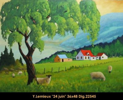 Original oil painting on canevas by Yvon Lemieux #yvonlemieux #art #artist #canadianartist #quebecartist #originalpainting #fineart #figurativeart #oilpainting #landscape #sheeps #oilpainting #balcondart #multiartltee