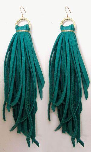 Tassel Leather Earrings-Turquoise. $38.00, via Etsy.