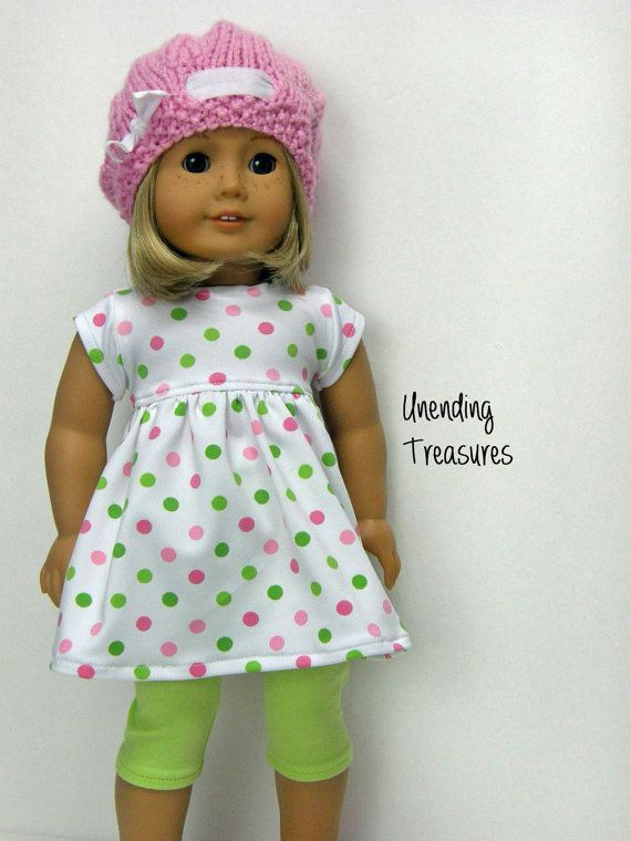18 inch Doll Clothes, babydoll dress, AG doll clothes, lime green capri leggings, and pink hat