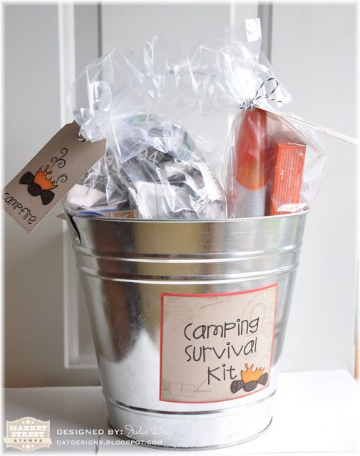 Camping Survival Kit. So cute! This would be a good gift for your Scouts' first camp out, or your Young Woman's first girls camp!