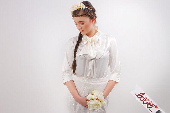 Bridal festive blouse satin cream 'Lola' by mydearlove on Etsy