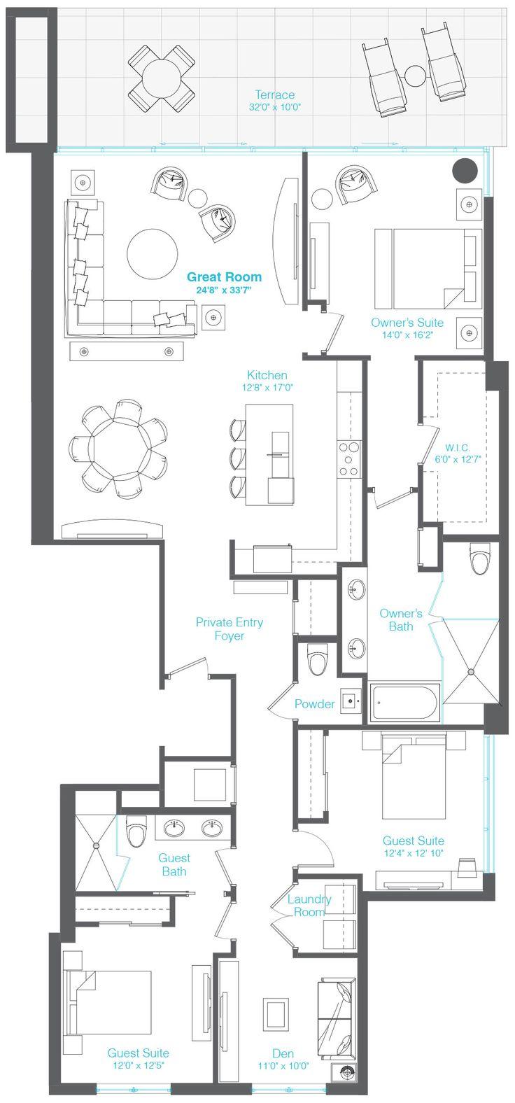 228 best apartment plans images on pinterest apartment plans 3 bedrooms 2 5 baths den apartment planscondosplanefloor