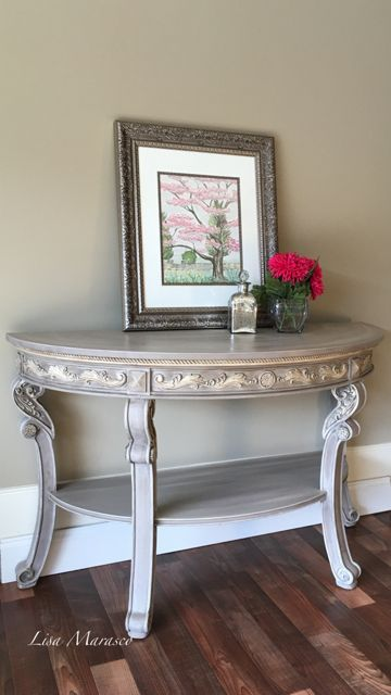 Half Moon Sofa/Entry Table refinished in ASCP Cocoa and details completed in a custom mix of Cocoa & Cream.