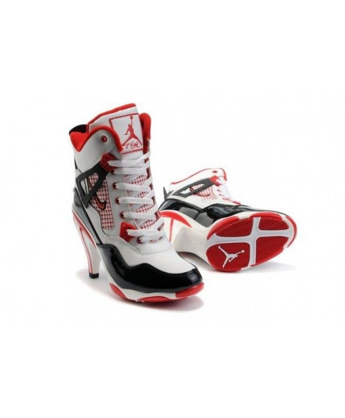 promo code 405d3 57950 Air Jordan 4 IV Womens Heels Ankle Boots White Black Red