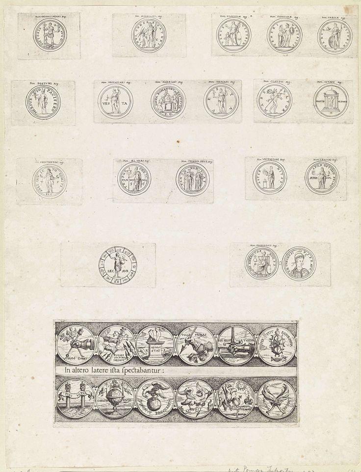 Theodoor van Thulden   Negentien Romeinse munten met deviezen en emblemen van keizers, Theodoor van Thulden, 1642   Negentien Romeinse munten met deviezen en emblemen van keizers. Onderaan twaalf emblemen, in twee rijen van zes naast elkaar, met deviezen en emblemen, waaronder christelijke.