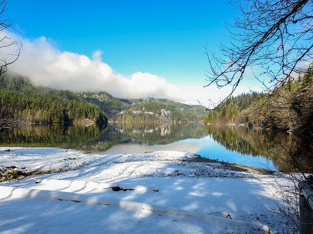 View from South Beach - Buntzen lake in snow