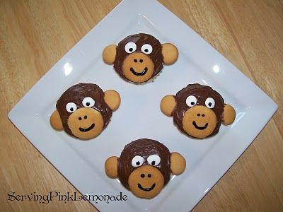cupcakes: Birthday Cupcake, Monkey Birthday, Monkey Cookies, For Kids, Quiet Book, Cupcake Ideas, Monkey Cupcake, Pink Lemonade, Food Recipe