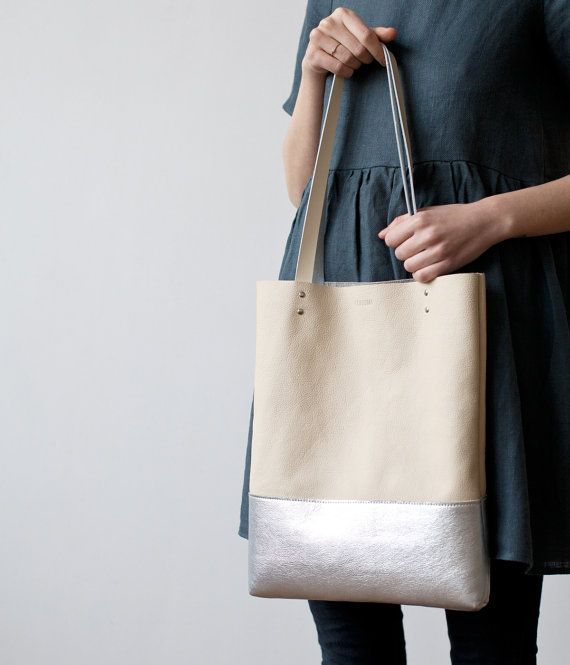 Xmas SALE Silver Dipped Leather Tote bag by CORIUMI on Etsy