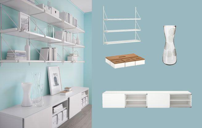 IKEA's version of string shelves (EKBY JÄRPEN/ EKBY GÄLLÖ Wall shelf http://www.ikea.com/us/en/catalog/products/S49894507/ )