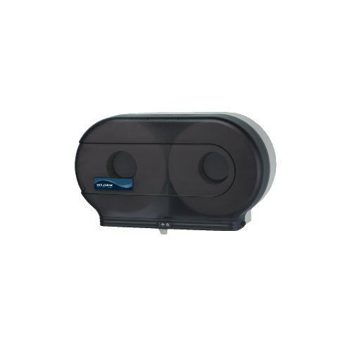 San Jamar SAN R4000TBK Twin Jumbo Roll Toilet Paper Dispenser - Black Pearl by San Jamar. $33.08. Cover has key lock mechanism to prevent theft Holds two 9 rolls. InfinitySystem prevents access to. Design is stylish and innovative. Satisfaction Ensured.. Made of break- and chemical-resistant plastic. Transparent full-swing replaceable cover provides easy. Great Gift Idea.. Made of break- and chemical-resistant plastic. Transparent full-swing replaceable cover provides easy....