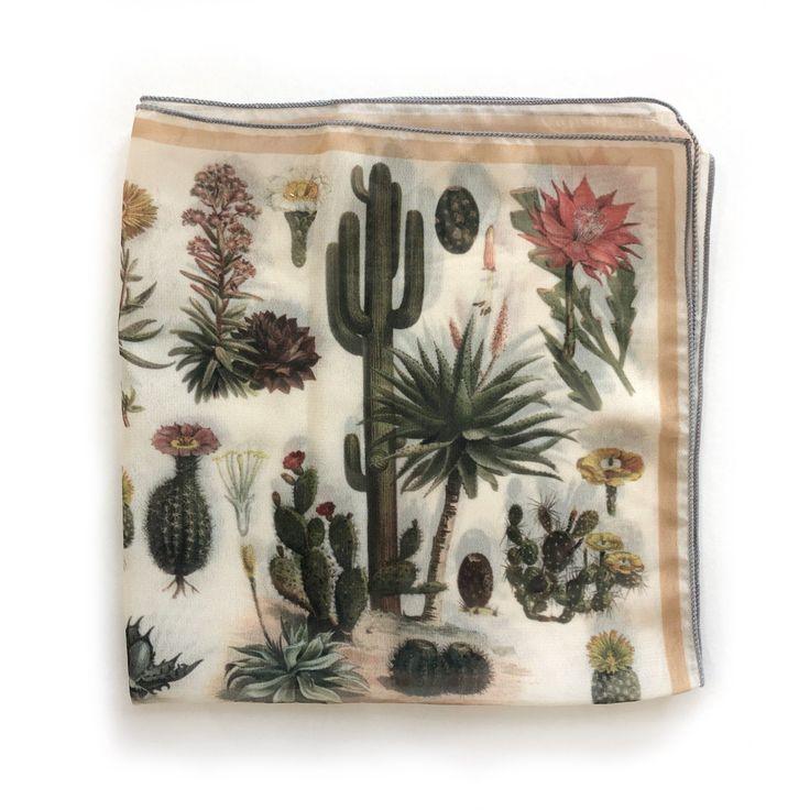 Palm Springs Desert Cactus Gypsy Scarf / Ascot neckerchief Bandana / Botanical I…
