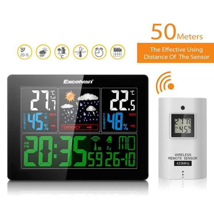 Wireless Weather Station With Forecast Temperature Humidity Thermometer Hygrometer Clock