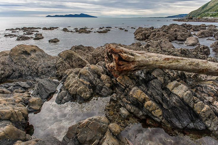 Rocks on a dull day, Centennial Highway between Pukerua Bay and Paekakariki Ref: NZNK169109