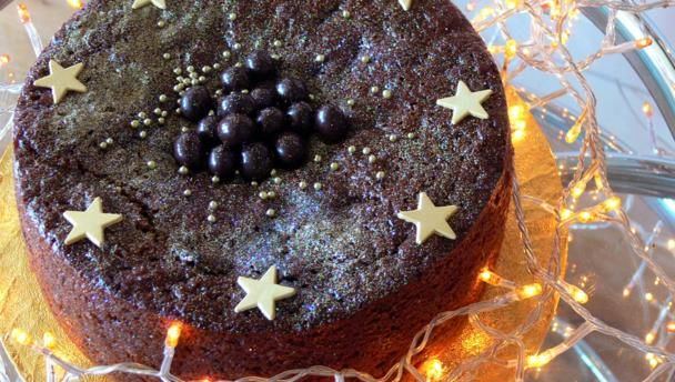 The prunes in this easy Christmas cake ensure that it is dark, moist and squidgy - but what makes it really special is the chocolate.