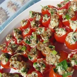 Baby BLT | Cherry tomatoes stuffed with a bacon mixture are terrific for parties, or a light lunch for low-carbers.