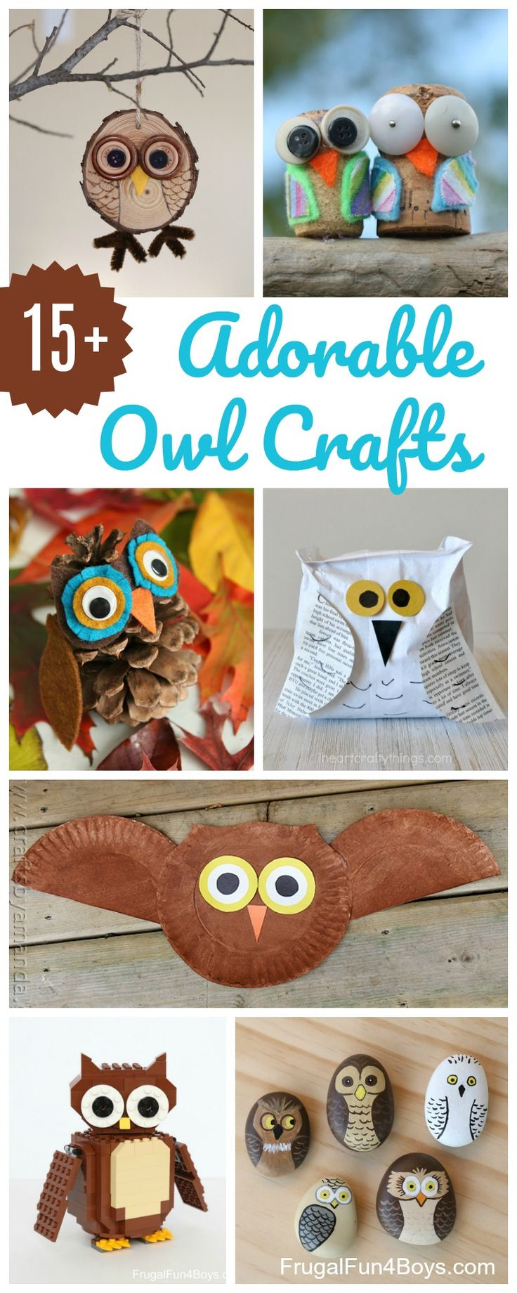 15+ Adorable Owl Crafts to Make with Kids - Painted rock owls, paper plate owls, wood slice owls, etc.