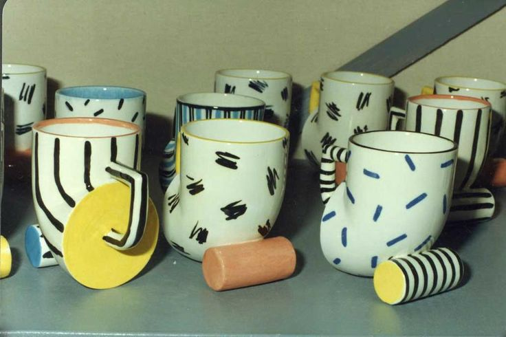 Iterations on my Cylinder Mug before I settled on a couple of decorative options. #MemphisDesign Made from1987 on.  http://www.brucehaliday.com/