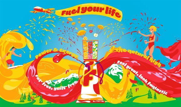Fuel Juice Bars Mural by Ben O'Brien, via Behance