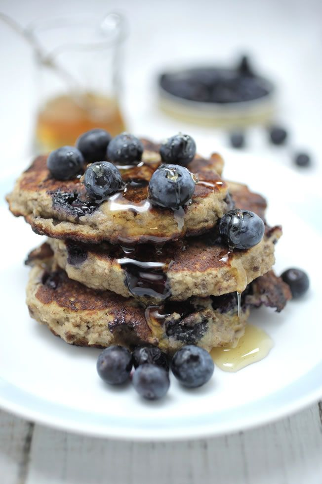 Blueberry pancakes www.thehealthychef.com