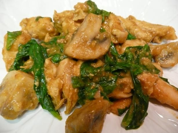 Dinner tonight.....  Thai-Inspired Coconut Chicken With Spinach and Mushrooms. this was delicious!!!