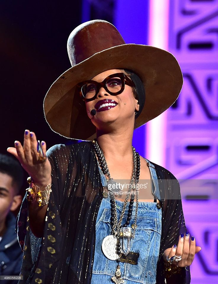 Host Erykah Badu speaks onstage during the 2015 Soul Train Music Awards at the Orleans Arena on November 6, 2015 in Las Vegas, Nevada.