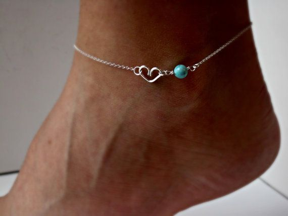 Heart Anklet with Turquoise Silver.