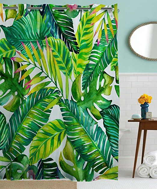 Hookless Shower Curtains by Goodbath, Banana Leaves Floral Fabric Waterproof and Mildew Resistant Bathroom Curtain Set with Hooks, Green White