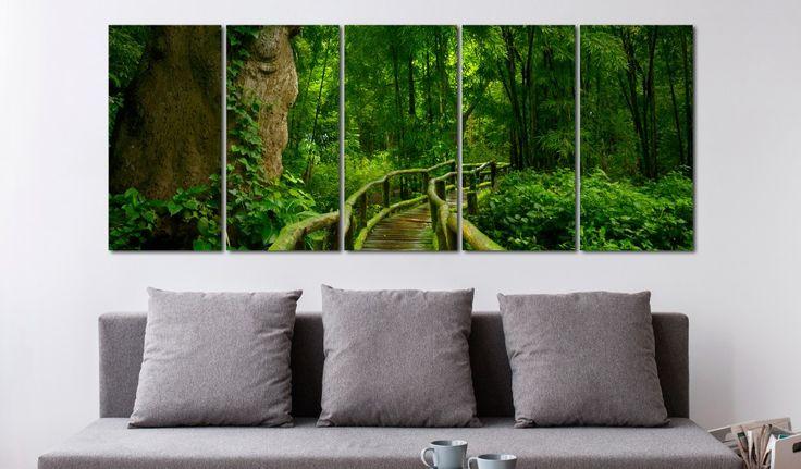 On dit que le vert introduit le calme et la détente :) #tableau #tableaux #décomurale #paysage #forêt #arbres #couleurverte #arrangementdintérieur #salon #bimago