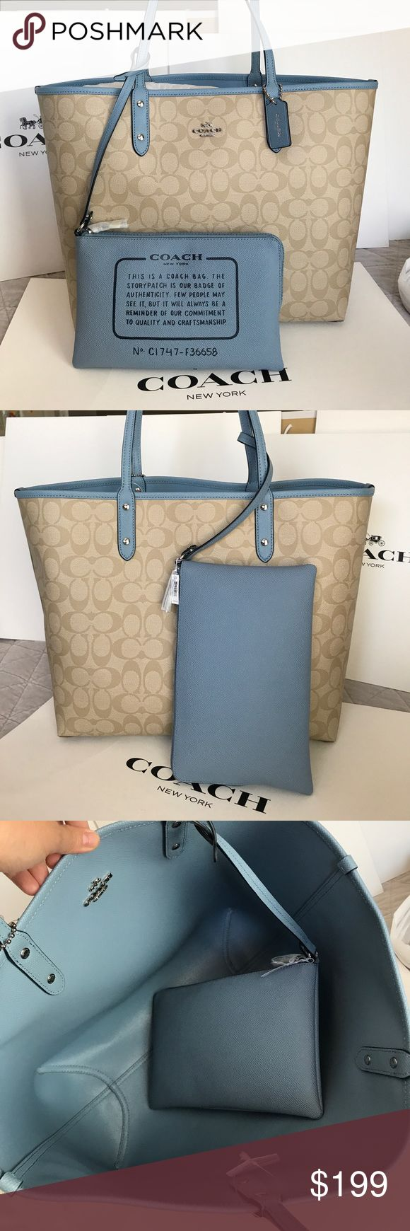 🍀Coach Bag🍀 100% Authentic Reversible Coach Tote Bag, brand new with tag!.😍😍😍Large Size Coach Bags Totes