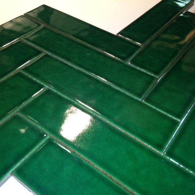 Bottle Green 2x8 In herringbone pattern  Bathroom Reno