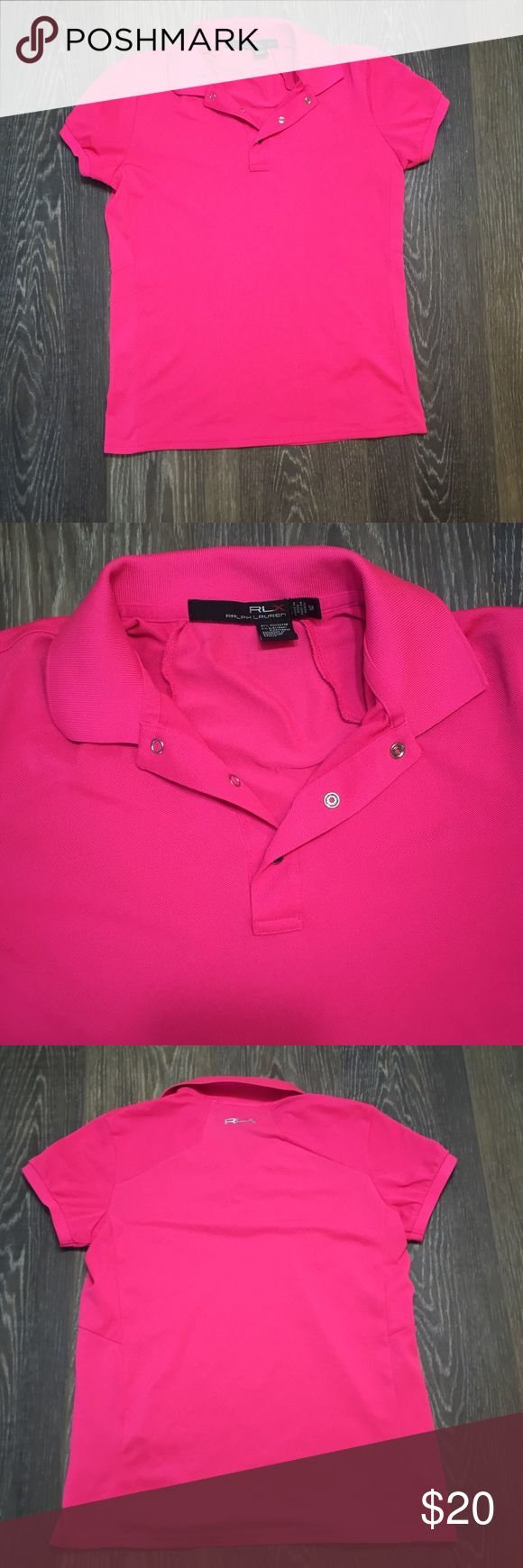 RLX Sport Polo Shirt Gently used hot pink Ralph Lauren Sport Polo shirt. All the lettering is still intact. Polo by Ralph Lauren Tops Tees - Short Sleeve
