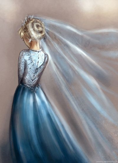"""Ice veil"". Wedding Gown Illustration / Velo di Ghiaccio. Illustrazione Matrimonio Abito da sposa - Art by Arbetta"