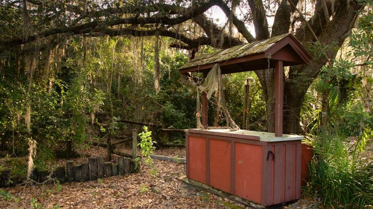 Entrance to one of the rides at the abandoned Disney World water park, Disney's River Country, in Bay Lake, Florida.