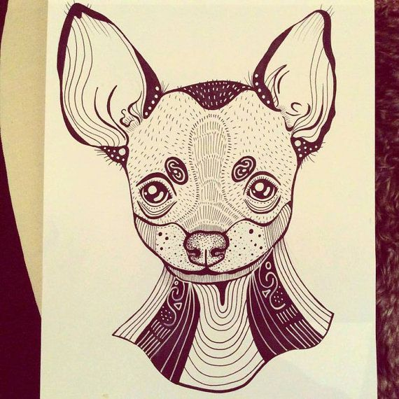 Chihuahua Dog A4 A5 illustration print art dog print dog by mmuffn