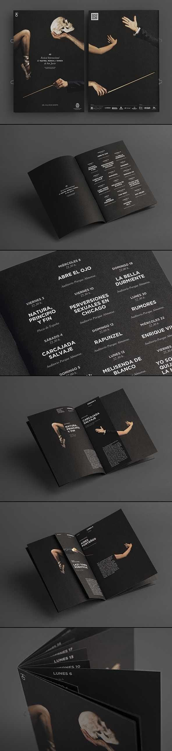 Black works, and it probably always will. Check out these sleek brochures featuring a solid black background