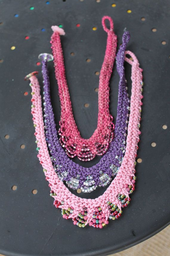 Knitting pattern for necklace with beads Glam Girl Necklace Pattern - Bead Knit Necklace for Children